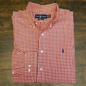 RALPH LAUREN flannel button down gingham shirt 17